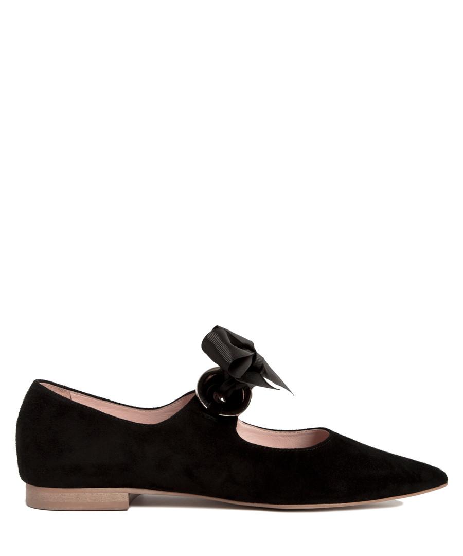 Black leather point ribbon ballet flats Sale - L37