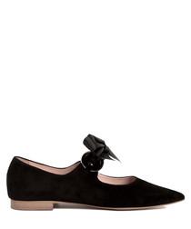 Black leather point ribbon ballet flats
