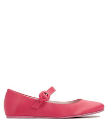 Red satin Mary Jane ballet flats