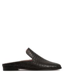 Black leather moc-croc loafer mules