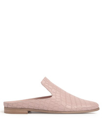 Pink leather moc-croc loafer mules