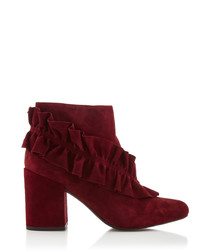 Joelle wine suede ruffle ankle boots