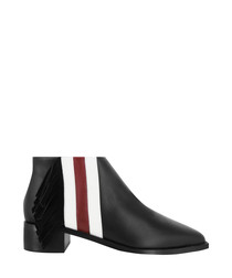 Lawrence black leather stripe boots