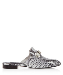 Rio II grey leather snake-effect mules