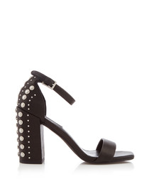 Leila black leather embellished heels