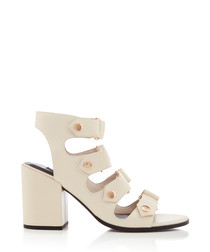 Stella white leather block heels