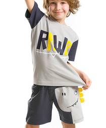 2pc Boy's Dino Rawr top & shorts set