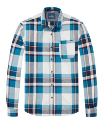 Teal & white pure cotton checked shirt