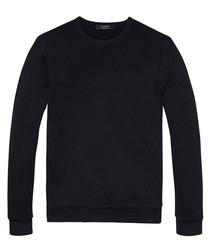 Night black cotton blend long sleeve top