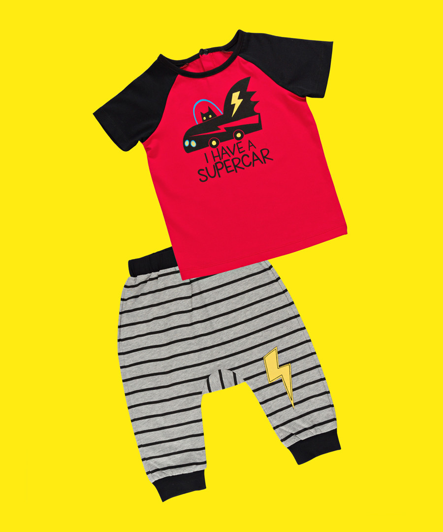 2pc Boy's Supercar top & leggings Sale - Denokids