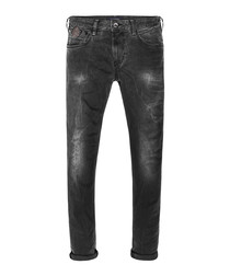 Black pure cotton faded jeans