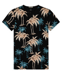 Black & teal pure cotton printed T-shirt