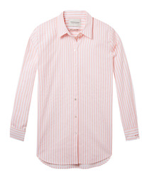 Red stripe pure cotton button-up shirt