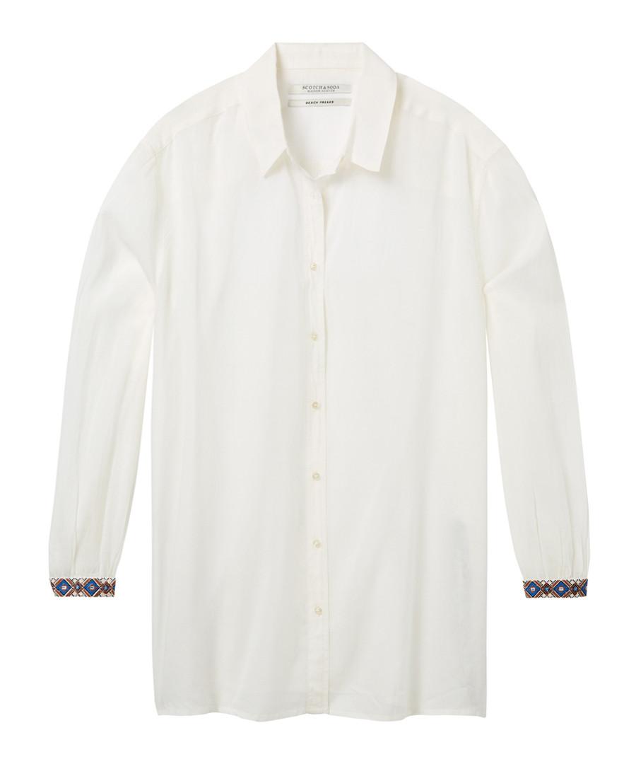 White cotton blend button-up shirt Sale - Maison Scotch
