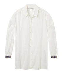 White cotton blend button-up shirt