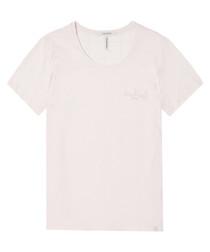 White cotton blend logo T-shirt