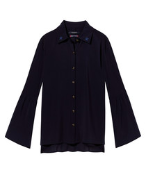 Navy pure cotton trumpet sleeve shirt
