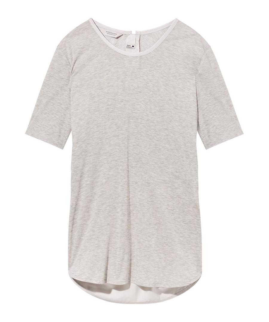 Grey curved hem T-shirt Sale - Maison Scotch