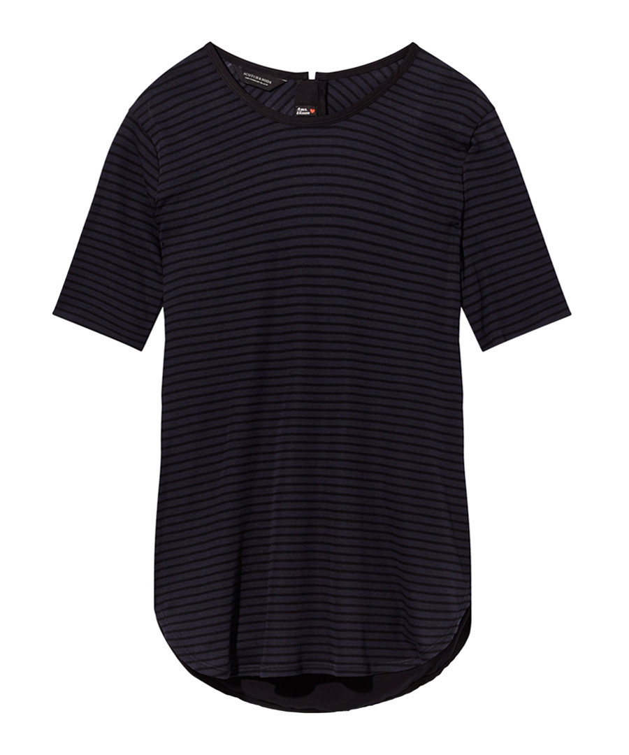 Black stripe curved hem T-shirt Sale - Scotch and Soda