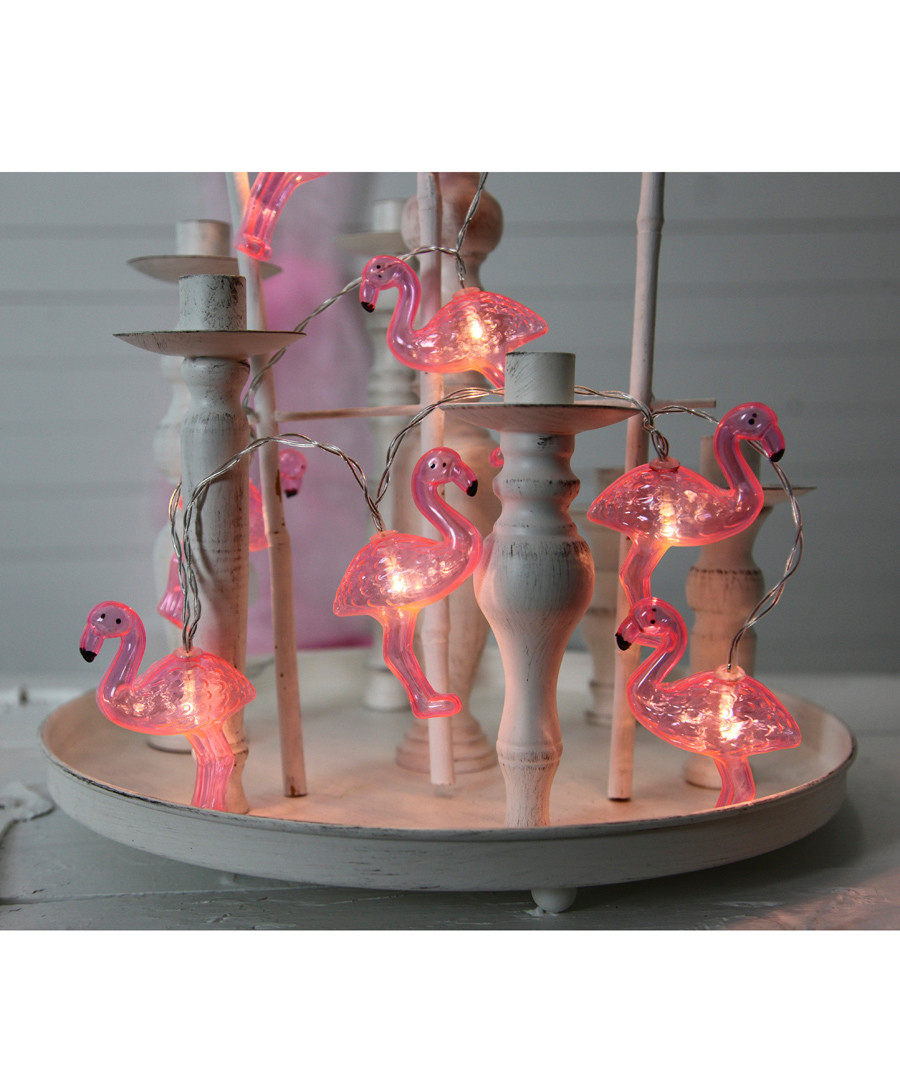 Pink Flamingo LED light chain Sale - solar lighting