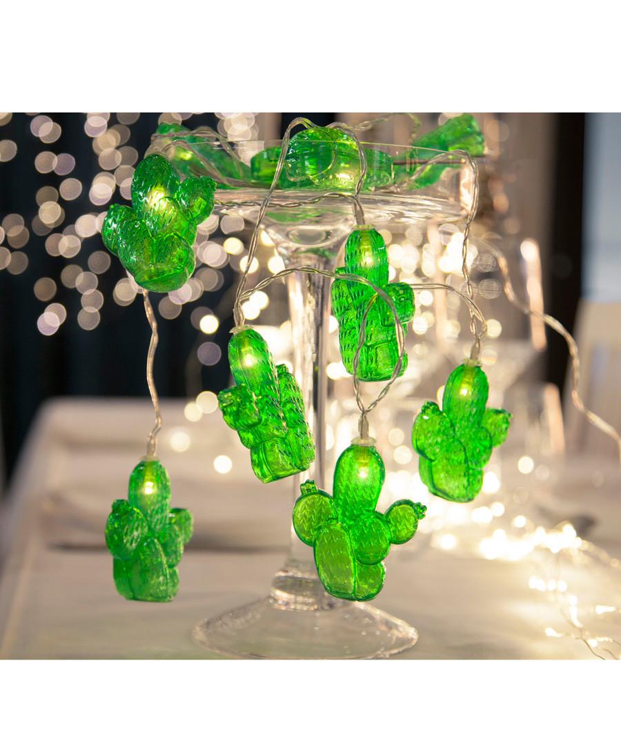 Green Cactus 10-LED light chain Sale - solar lighting