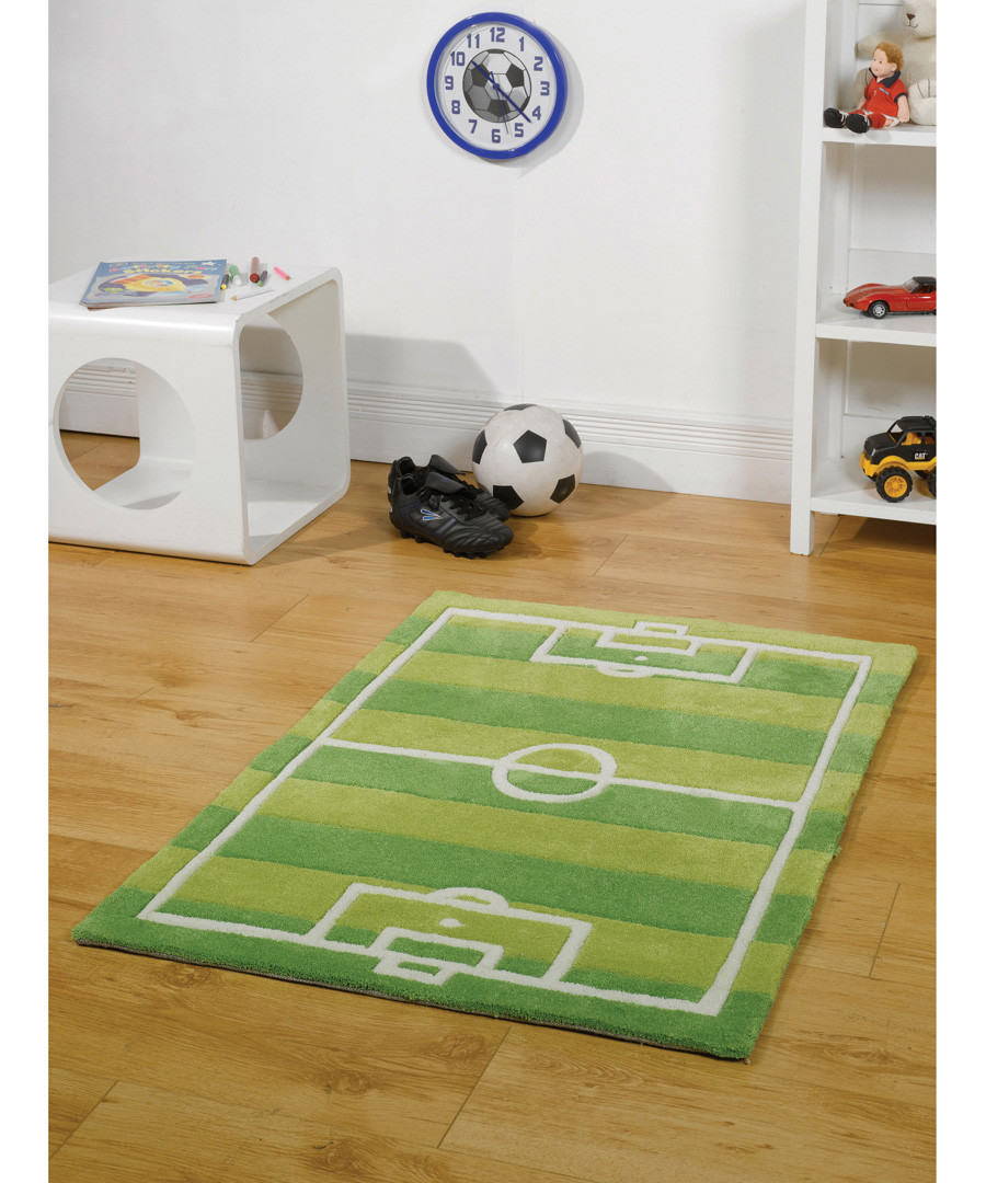 Green football pitch rug 70 x 100cm Sale - flair rugs