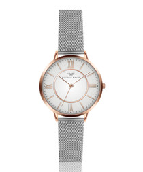 Silver & rose gold-tone steel watch