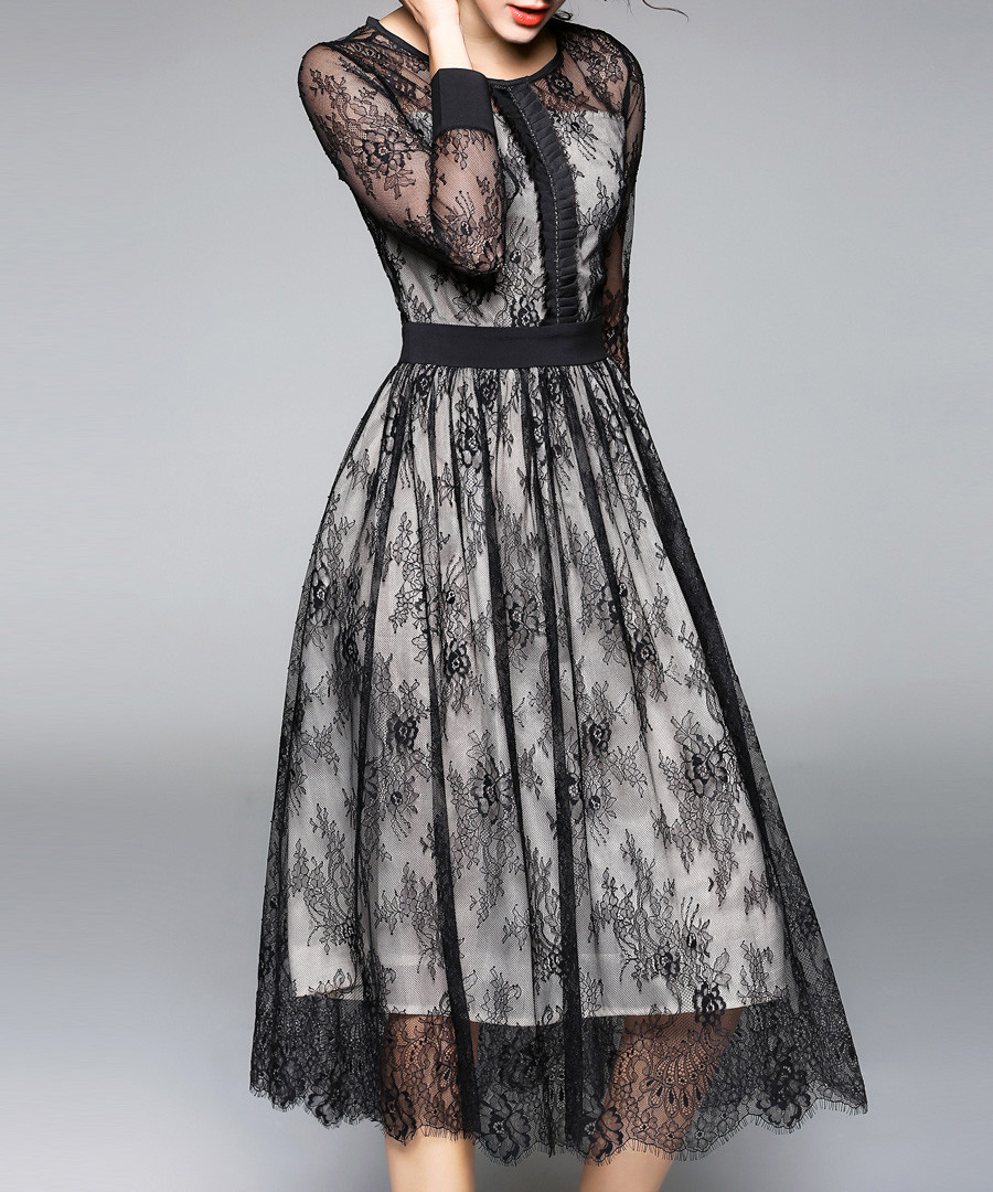 Black lace overlay 3/4 sleeve dress Sale - Kaimilan