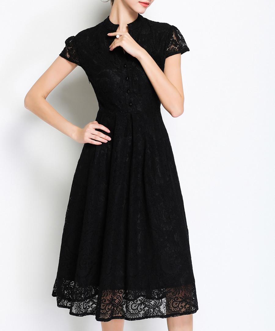 4b2070c959 Black lace short sleeve midi dress Sale - Kaimilan