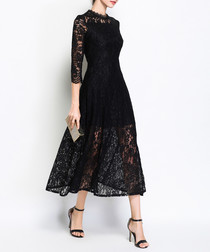 Black lace overlay high-neck midi dress