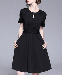 Black short sleeve keyhole dress
