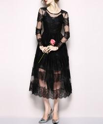 Black lace stripe long sleeve midi dress