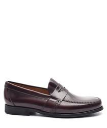 Men's Bordeaux leather slip-on loafers