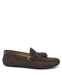Men's brown suede tassel moccasins