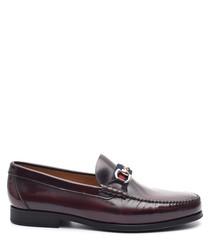 Men's bordeaux leather horsebit loafers