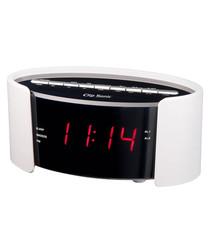 White FM radio alarm clock