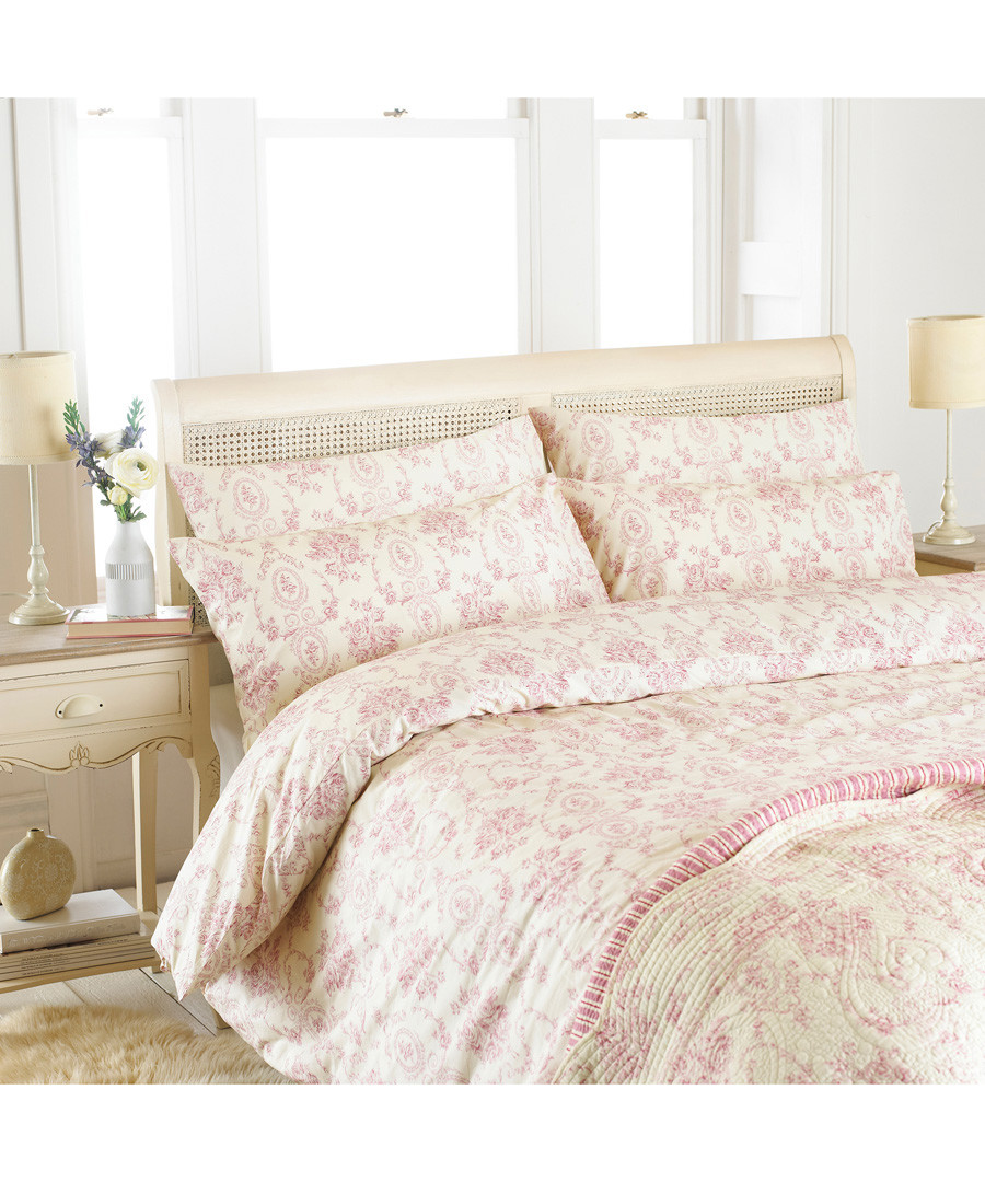 Etoille pink cotton double duvet set Sale - riva paoletti