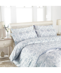 Etoille blue cotton king duvet set