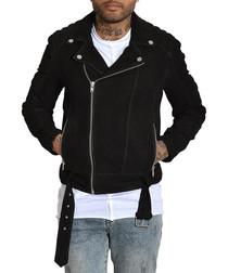 Biker black lambskin nubuck jacket