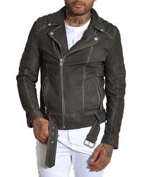 Biker grey lambskin nubuck jacket