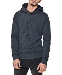 Hessio black cotton motif hoodie