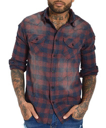Lapo red cotton blend check shirt
