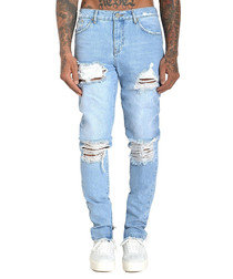 Orlando light blue cotton ripped jeans