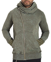 Ulessio olive pure cotton zip-up hoodie