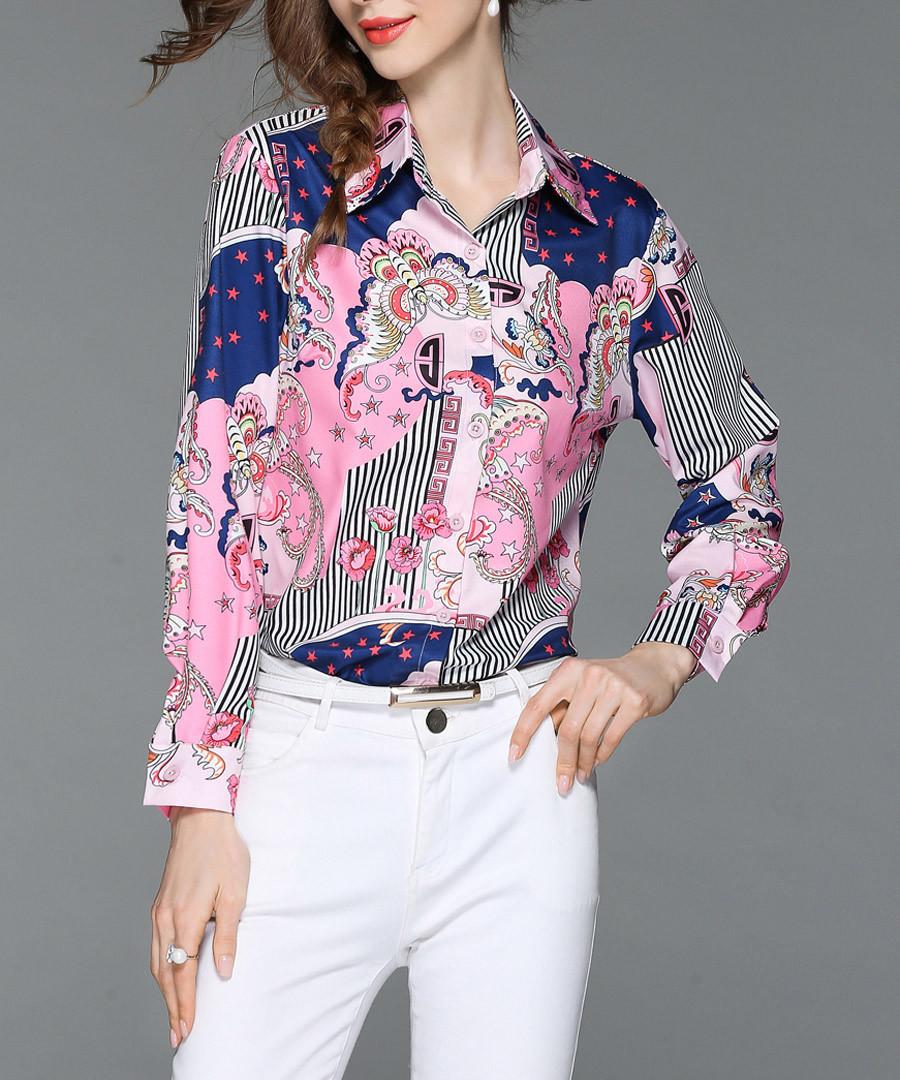 Pink & blue print button-up shirt Sale - Kaimilan