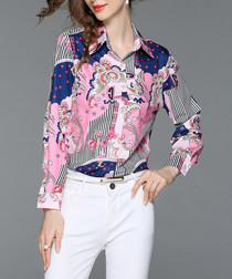 Pink & blue print button-up shirt