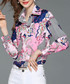 Pink & blue print button-up shirt Sale - Kaimilan Sale