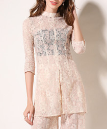 2pc light pink lace blouse & trousers
