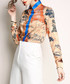Beige map print button-up shirt Sale - Kaimilan Sale