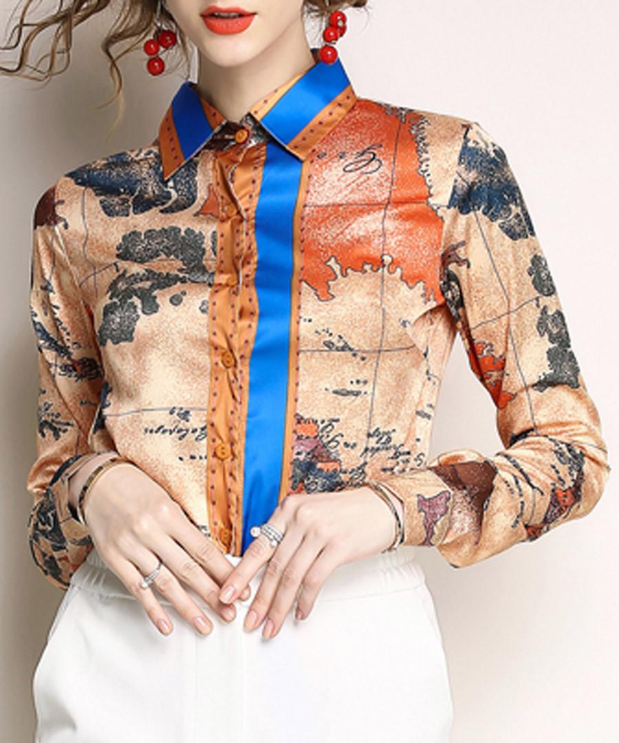 Beige map print button-up shirt Sale - Kaimilan